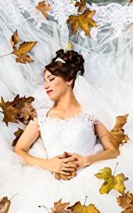 Papéis de parede Outono Folhagem Noiva Casamento Vestido Cabelo castanho