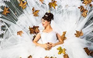 Fotos Herbst Blattwerk Brautpaar Hochzeit Kleid Braune Haare