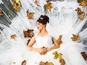 Fonds d'écran Automne Feuillage Jeune mariée Mariage Les robes Aux cheveux bruns