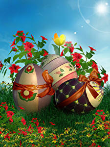 Pictures Easter Holidays Alstroemeria Eggs Bowknot Design Grass Flowers