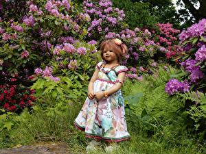 Bilder Park Puppe Kleine Mädchen Kleid Strauch Grugapark Essen Natur