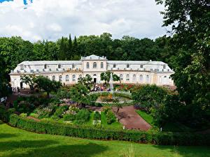 Bilder Russland Sankt Petersburg Parks Springbrunnen Palast Design Strauch Rasen Peterhof Städte