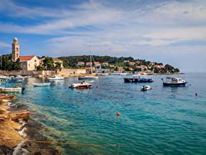 Hintergrundbilder Kroatien Haus Bootssteg Motorboot Küste Bucht Hvar Städte