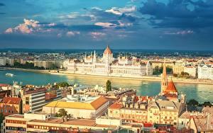 Bilder Flusse Haus Budapest Ungarn Hungarian Parliament Building