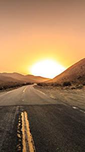 Fotos Wege Sonnenaufgänge und Sonnenuntergänge Sonne Asphalt Natur