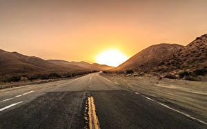 Fotos Wege Sonnenaufgänge und Sonnenuntergänge Sonne Asphalt