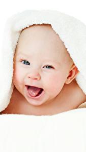 Fotos Handtuch Säugling Freude Weißer hintergrund Kinder