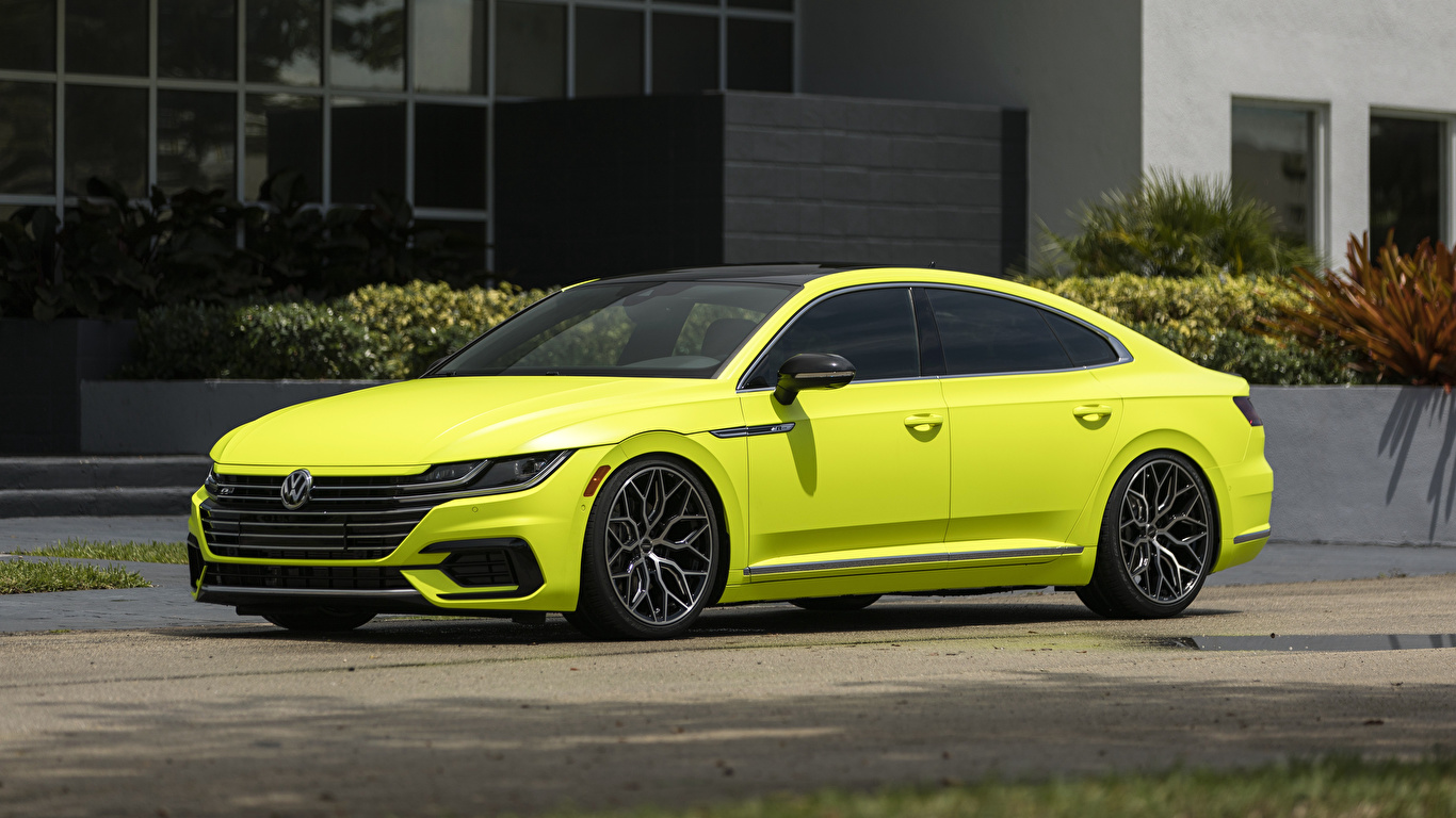 Photos Volkswagen Arteon R-Line Highlight Concept 2018 Yellow Side auto Metallic 1366x768 Cars automobile