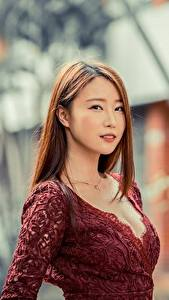 Fotos Asiatische Bokeh Braunhaarige Blick