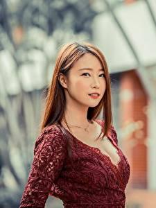 桌面壁纸,,亚洲人,散景,棕色的女人,凝视,年輕女性,