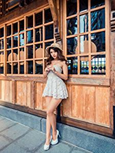 Wallpaper Asian Posing Frock Hat Glance female