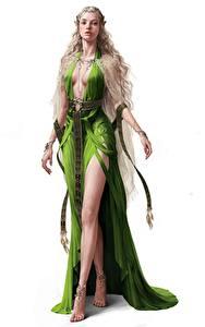 Fotos Elfen Kleid Hübscher Weißer hintergrund Fantasy Mädchens