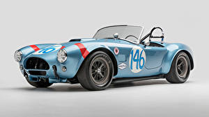 Fotos Shelby Super Cars Antik Grauer Hintergrund Hellblau Cabrio Roadster 1964 Shelby Cobra 289 FIA Competition