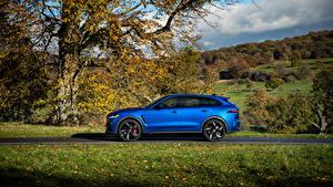 Bilder Jaguar Blau Metallisch Seitlich Softroader F-Pace SVR, 2020 automobil