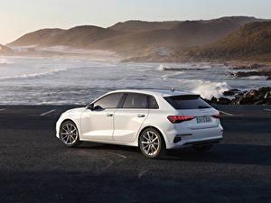 Hintergrundbilder Audi Küste Weiß Metallisch A3 Sportback 30 g-tron, 2020 auto