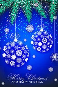 Fotos Neujahr Vektorgrafik Ast Kugeln Englische Schneeflocken