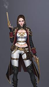 Picture Pistols Warriors Gray background Cape Bageumi Fantasy Girls