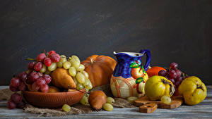 Picture Still-life Fruit Grapes Pears Pitcher Food