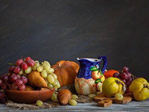 Picture Still-life Fruit Grapes Pears Pitcher