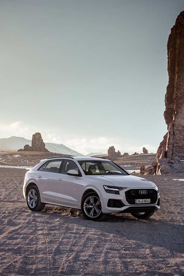 Fotos von Audi 2018 Q8 55 TFSI quattro Worldwide graues Autos Metallisch 640x960 für Handy Grau graue auto automobil