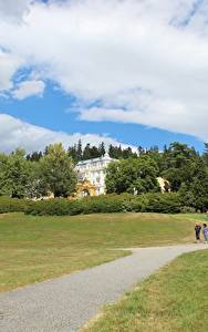 Fotos Tschechische Republik Gras Weg Straßenlaterne Marianske Lazne, Bohemia