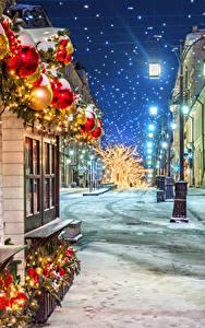 Bilder Moskau Neujahr Russland Winter Schnee Stadtstraße Straßenlaterne Nacht Manezhnaya Square