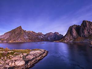 Fotos Norwegen Lofoten Gebirge Bucht Natur