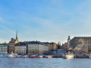 Bilder Schweden Stockholm Haus Seebrücke Schiffe Bucht
