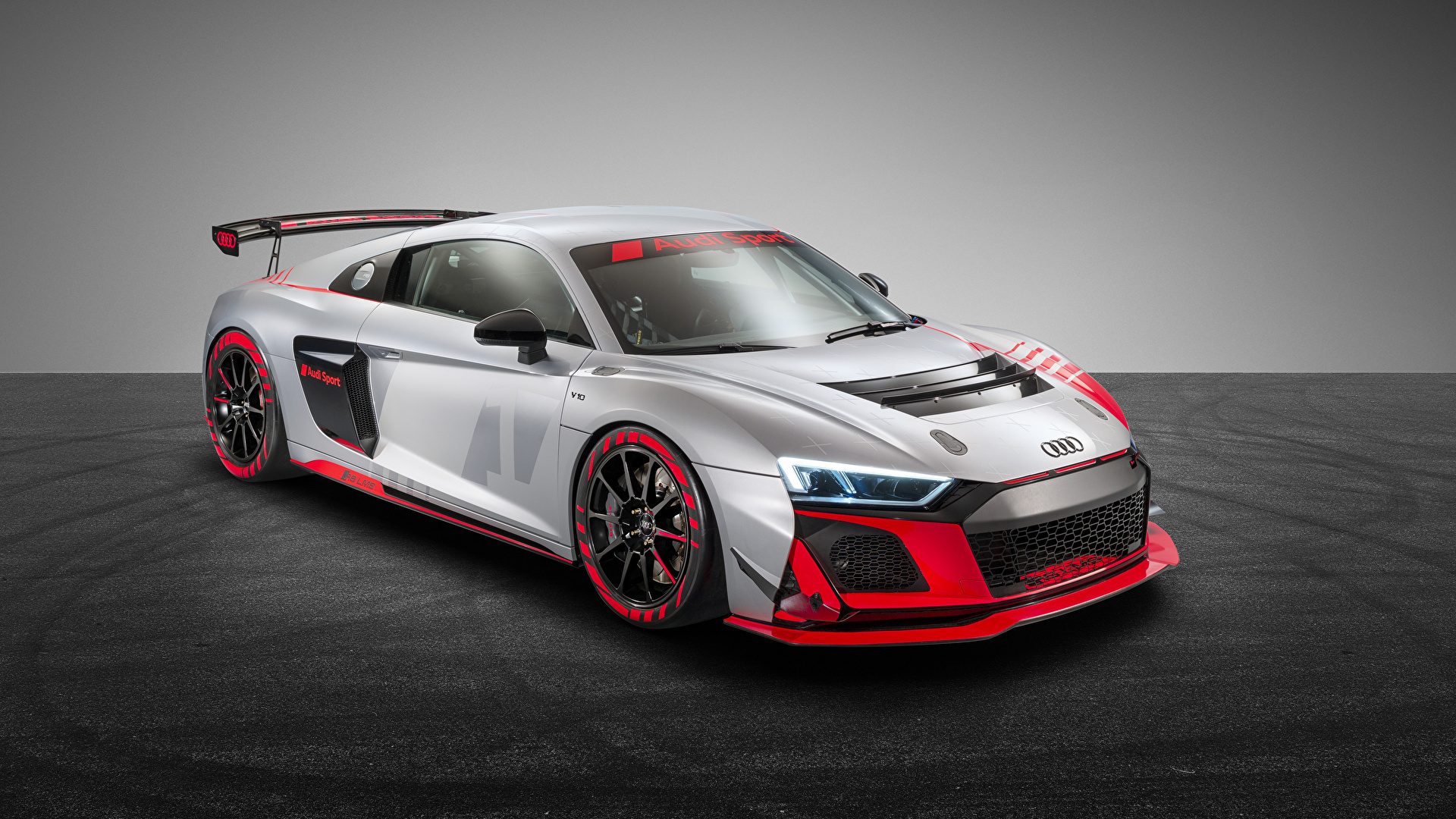 Images Audi Tuning 2019 20 R8 Lms Gt4 Silver Color Cars 1920x1080