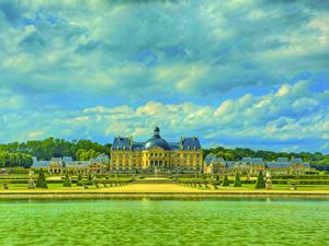 Hintergrundbilder Frankreich Burg Flusse Park HDRI Chateau de Vaux Städte