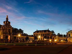 Fotos Deutschland Dresden Haus Abend Palast Design Nacht Straßenlaterne Zwinger Städte
