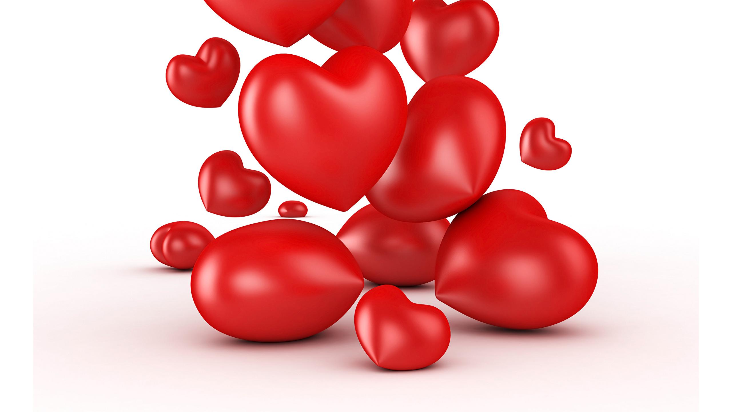 Image Valentines Day Heart Many White Background 2560x1440