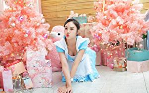 Desktop hintergrundbilder Asiaten Uniform Dienstmädchen Weihnachtsbaum Schachtel Geschenke Mädchens