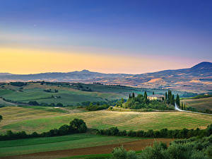 Fotos Acker Toskana Italien Hügel Horizont San Quirico d'Orcia, Tuscany