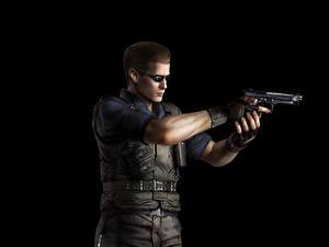 Hintergrundbilder Resident Evil Mann Pistolen Schwarzer Hintergrund Albert Wesker Spiele 3D-Grafik