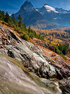 Pictures USA Autumn Parks Mountains Forests Scenery Glacier National Park Nature