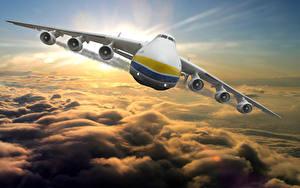 Bilder Flugzeuge Transportflugzeuge Vorne Flug Wolke Russische An-225 Mriya Luftfahrt