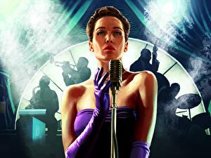 Hintergrundbilder L.A. Noire Mikrofon Kleid Spiele Mädchens