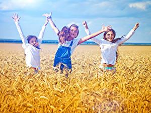 Bilder Acker Ähre Drei 3 Kleine Mädchen Hand Glücklich Kinder