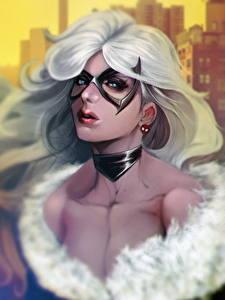 Fotos Masken Blick Haar Blond Mädchen Felicia Hardy, Black Cat Fantasy Mädchens