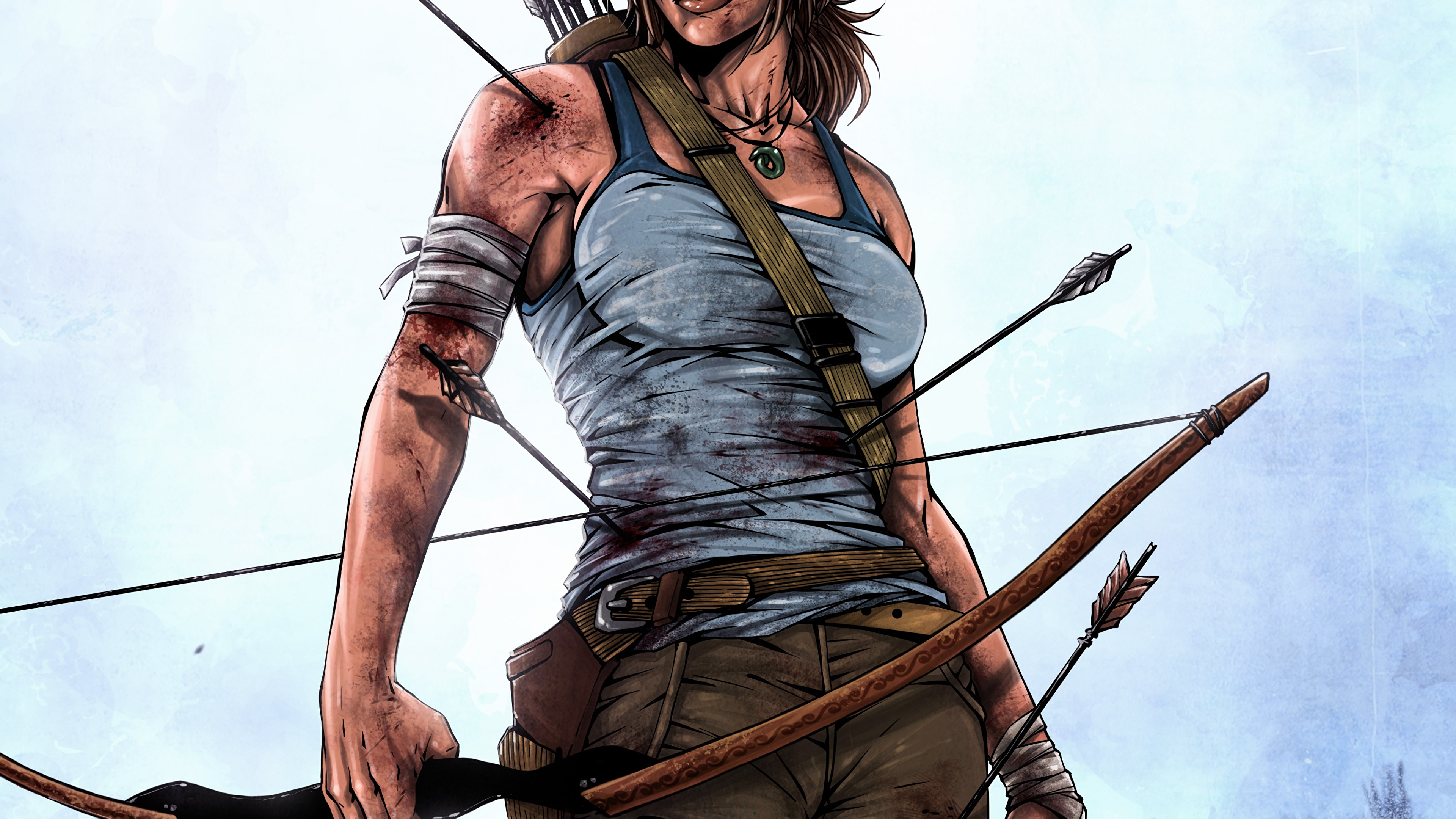 Photos Tomb Raider 2013 Lara Croft Bow Weapon Arrows Girls 3840x2160