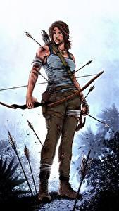 Hintergrundbilder Tomb Raider 2013 Lara Croft Bogen Waffen Pfeil Mädchens
