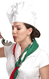 Pictures White background Cook Uniform Brown haired Hands Girls