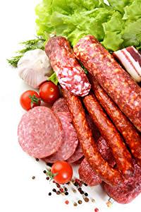 Bilder Fleischwaren Wurst Knoblauch Tomate Weißer hintergrund