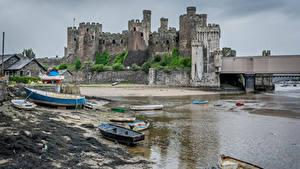 デスクトップの壁紙、、イギリス、城、廃墟、海岸、ボート、ウェールズ、Conwy Castle、