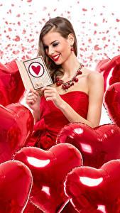 Papéis de parede Dia dos Namorados Cabelo castanho Sorrir Coração Balão Meninas