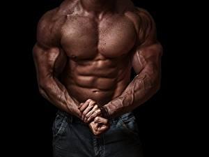 Fotos Bodybuilding Muskeln Hand Bauch Schwarzer Hintergrund Sport