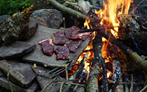Image Fire Stones Meat products Bonfire Pieces Food