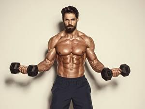 Bilder Mann Bodybuilding Hantel Muskeln Bauch Bärtiger Sport