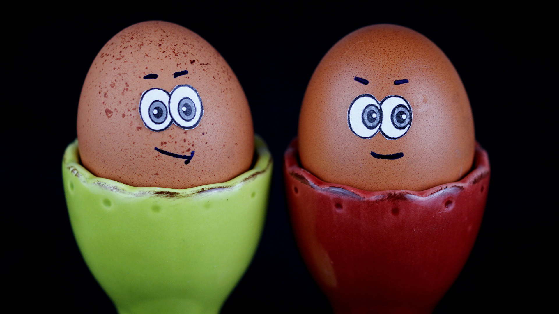 Images Smilies Egg Two Creative Food Black Background 1920x1080